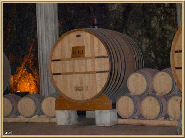 Barriques dans la cave souterraine du Château Romanin à Saint Rémy de Provence, Alpilles (13)