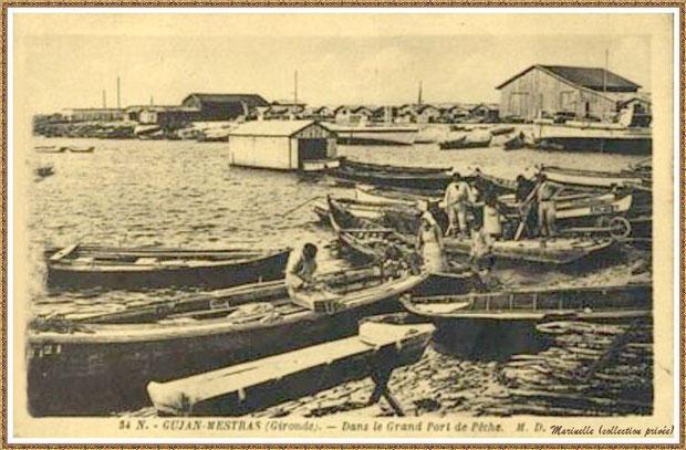 Gujan-Mestras autrefois : la darse principale du Port de Larros, Bassin d'Arcachon (carte postale, collection privée)