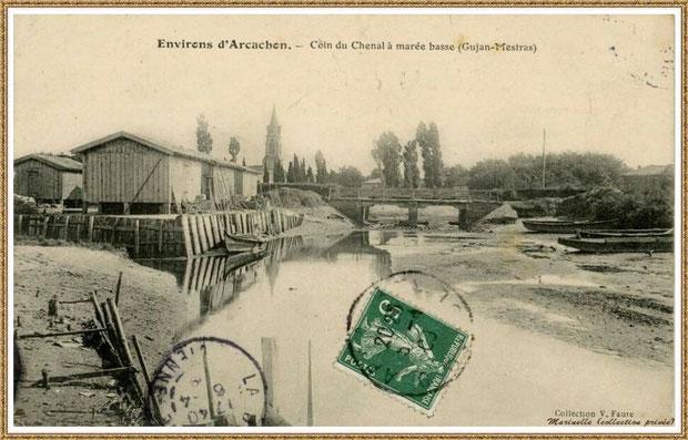 Gujan-Mestras autrefois : en 1903, le chenal du Port de Gujan (ex Port de la Passerelle) à marée basse, Bassin d'Arcachon (carte postale, collection privée)