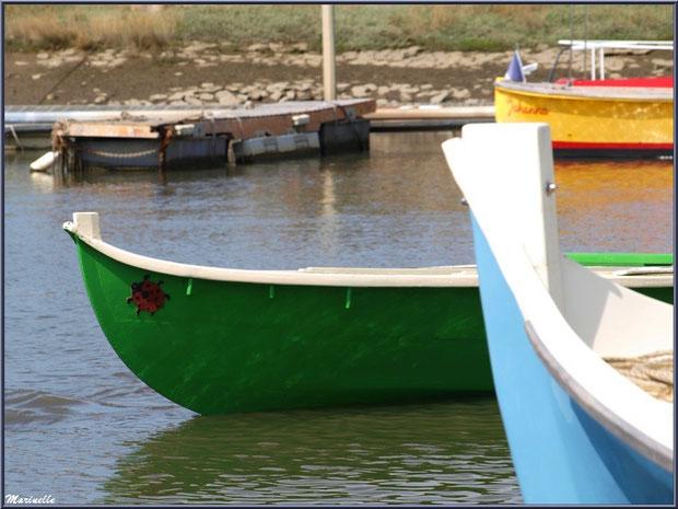 Proues d'une pinasse et d'une pinassote sur le départ pour la pêche à la sardine - Fête du Retour de la Pêche à la Sardine 2014 à Gujan-Mestras, Bassin d'Arcachon (33)
