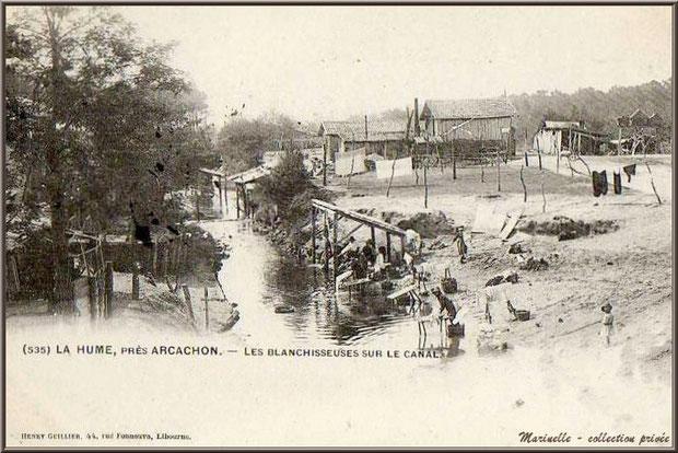 Gujan-Mestras autrefois : La Hume, Blanchisseuses sur le Canal des Landes, Bassin d'Arcachon (carte postale, collection privée)