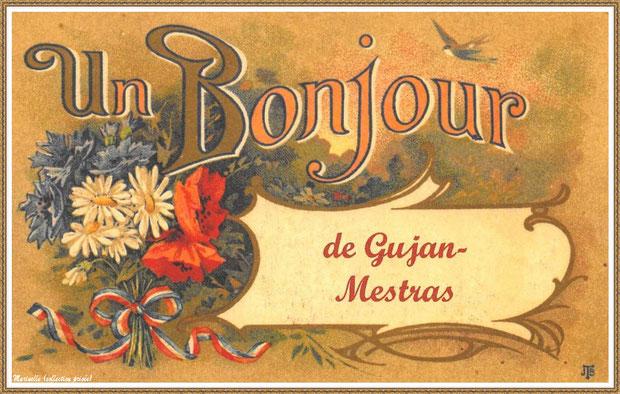 """Gujan-Mestras autrefois : Carte postale """"Un bonjour de Gujan-Mestras"""", Bassin d'Arcachon (carte postale, collection privée)"""