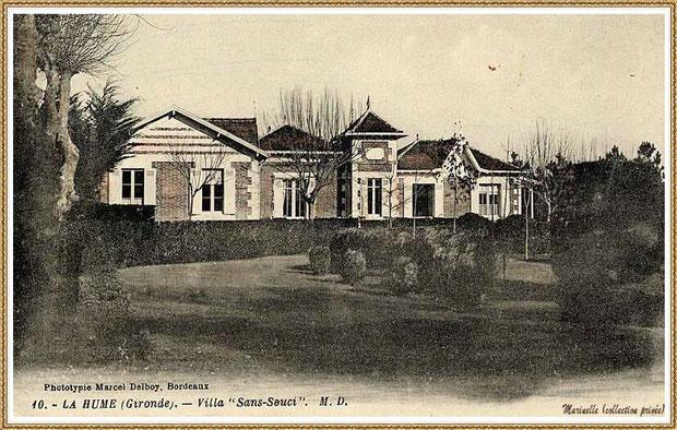 """Gujan-Mestras autrefois : La Hume, en 1933, Villa """"Sans-Souci"""" ancienne propriété de l'Infante Eugénie, Bassin d'Arcachon (carte postale - côté RECTO, collection privée)"""