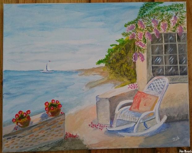 """JLA Artiste Peintre - """"Terrasse au rocking chair en bord de mer"""" 032 - Peinture sur toile"""