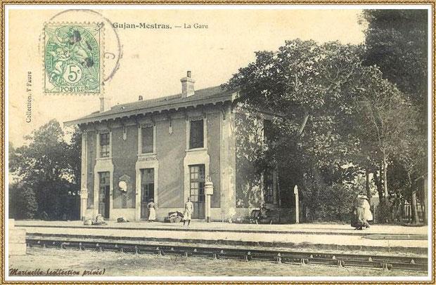 Gujan-Mestras autrefois : en 1907, quai de la gare, Bassin d'Arcachon (carte postale, collection privée)
