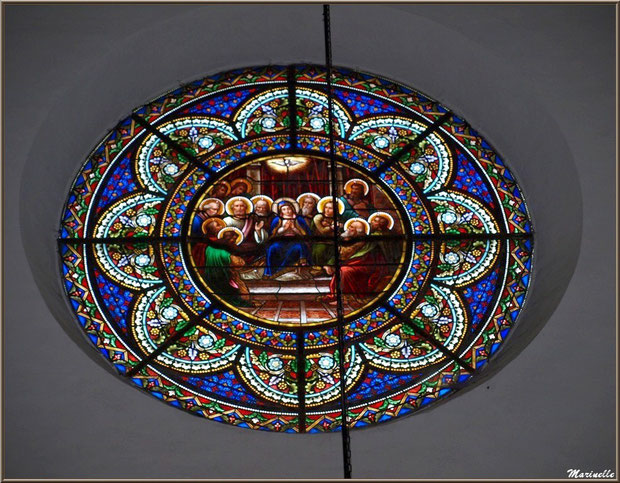 L'église Saint Pierre de Laruns, Vallée d'Ossau (64) : rosace représentant La Pentecôte