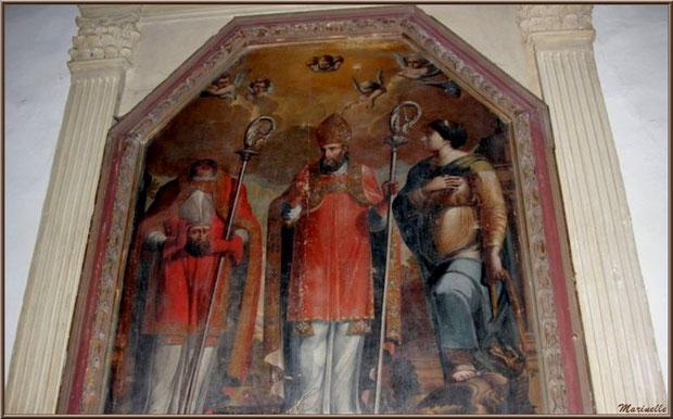 Tableau de Saint Sébastien, Saint Denis, un évêque et Sainte Marthe terrassant la tarasque à l'église Saint Sébastien - Goult, Lubéron - Vaucluse (84)