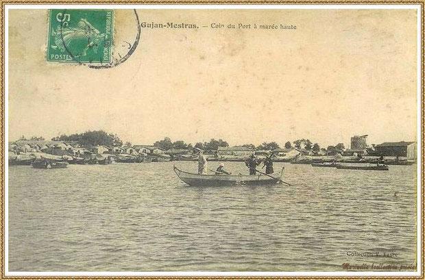 Gujan-Mestras autrefois : en 1908, la darse principale du Port de Larros (avec le moulin en fond), Bassin d'Arcachon (carte postale, collection privée)