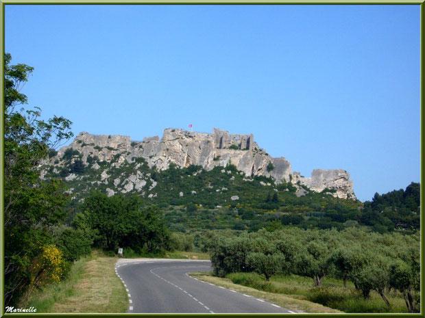 Le Château des Baux-de-Provence, Alpilles (13), depuis la vallée sur la D27 venant de Maussane-les-Alpilles (avec oliveraies en bord de route)
