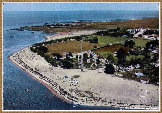 Gujan-Mestras autrefois : La Hume, vue aérienne de la plage, Bassin d'Arcachon (carte postale, collection privée)