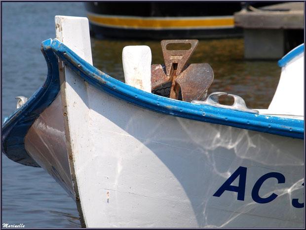 Proue de pinasse revenue de la pêche à la sardine ayant accosté - Fête du Retour de la Pêche à la Sardine 2014 à Gujan-Mestras, Bassin d'Arcachon (33)
