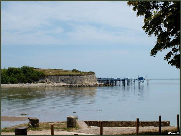 Les falaises du Caillaud et ses carrelets à ponton vus depuis Talmont-sur-Gironde, Charente-Maritime
