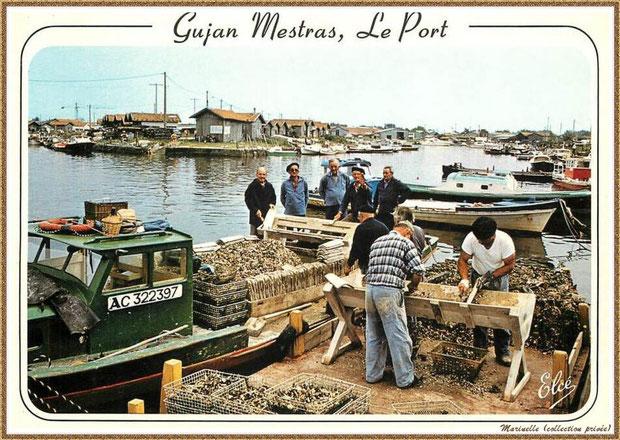 Gujan-Mestras autrefois : Ostréiculteurs au détrocage des tuiles, Port de Larros, Bassin d'Arcachon (carte postale, collection privée)