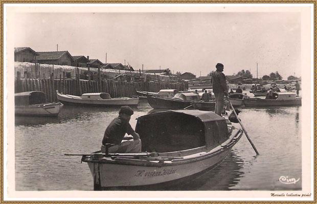 """Gujan-Mestras autrefois : (version plus récente) Pinasse de Dubuch """"L'Oiseau Blanc"""" rentrant au Port de Larros (darse principale), Bassin d'Arcachon (carte postale, collection privée)"""
