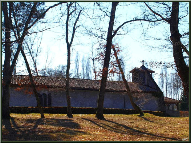 La chapelle Saint-Roch, vue de côté, au milieu de l'airial à Saugnacq-et-Muret (40)