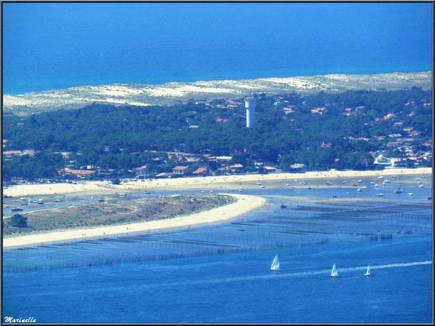 Le Bassin, parcs à huîtres, le Mimbeau au Cap Ferret, le sémaphore, entre Bassin et Océan Atlantique, Bassin d'Arcachon vu du ciel (33)