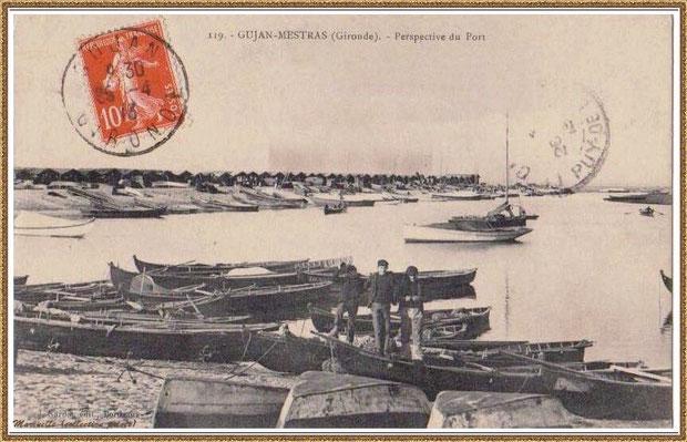 Gujan-Mestras autrefois : en 1913, pinassottes et pinasses à voile dans la darse principale du Port de Larros, Bassin d'Arcachon (carte postale, collection privée)