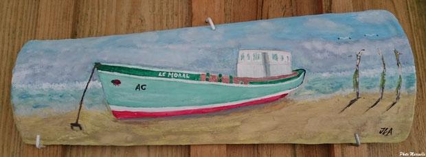 """JLA Artiste Peintre - pour Nelly """"La Pinasse-bac à Josette et Robert"""" 016 - Peinture sur tuile ostréicole (Bassin d'Arcachon)"""