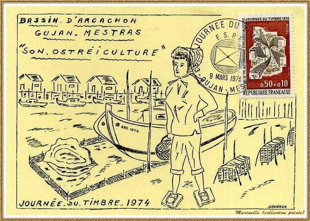 Gujan-Mestras autrefois : Journée du Timbre 1974, Bassin d'Arcachon (collection privée)