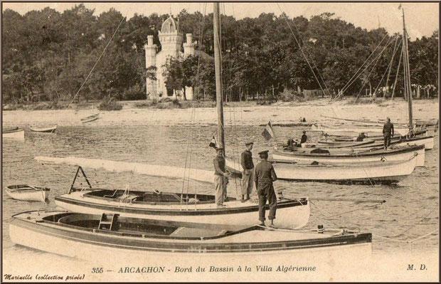 La Chapelle Algérienne et le bord du Bassin autrefois, Village de L'Herbe, Bassin d'Arcachon (carte postale ancienne, collection privée)