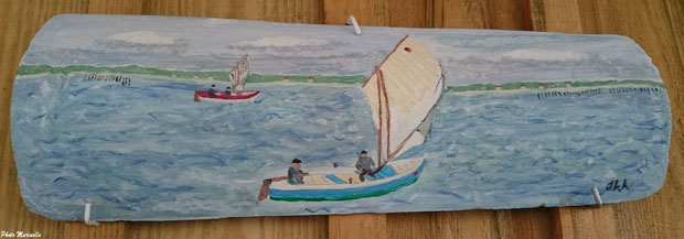 """JLA Artiste Peintre - """"Pinasse à voile en régate  début XXème siècle"""" 019 - Peinture sur tuile ostréicole (Bassin d'Arcachon)"""