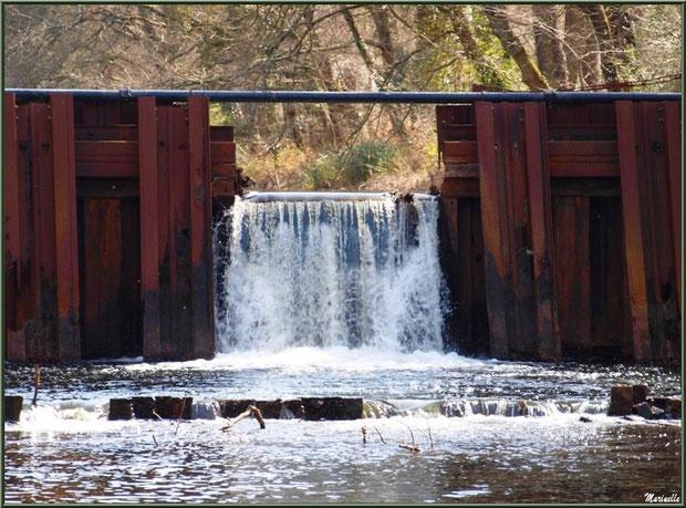 Une des écluses du Canal des Landes et ses reflets au Parc de la Chêneraie à Gujan-Mestras (Bassin d'Arcachon)