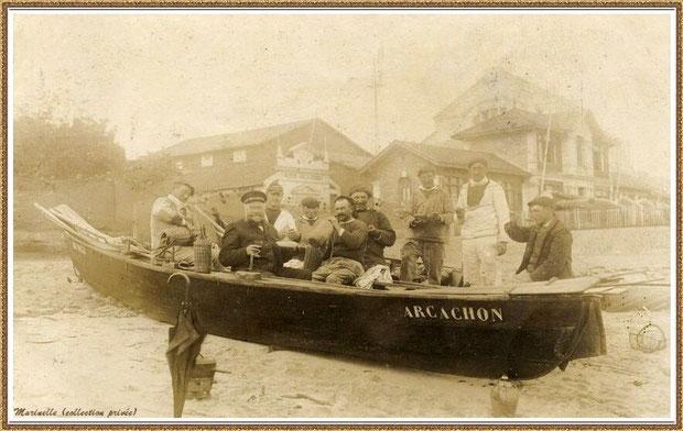 Et après l'effort, le réconfort !!! Armateur, patron et sardiniers après la pêche à la sardine, Bassin d'Arcachon (33)