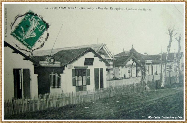Gujan-Mestras autrefois : en 1910, Rue des Entrepôts (qui deviendra Rue de l'Yser), Bassin d'Arcachon (carte postale, collection privée)