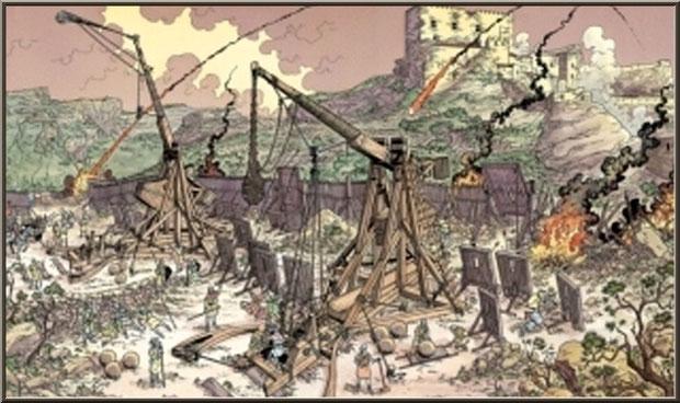 Machines de siège, Château des Baux-de-Provence, Alpilles (13) - gravure château