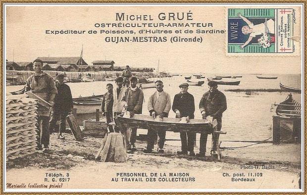 Gujan-Mestras autrefois : Michel Grué, ostréiculteur-armateur, expéditeur de Poissons, d'huîtres et de Sardines, Bassin d'Arcachon (carte postale, collection privée)