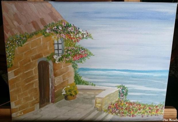 """JLA Artiste Peintre - """"Maison fleurie en bord de mer"""" 051 - Peinture sur toile"""
