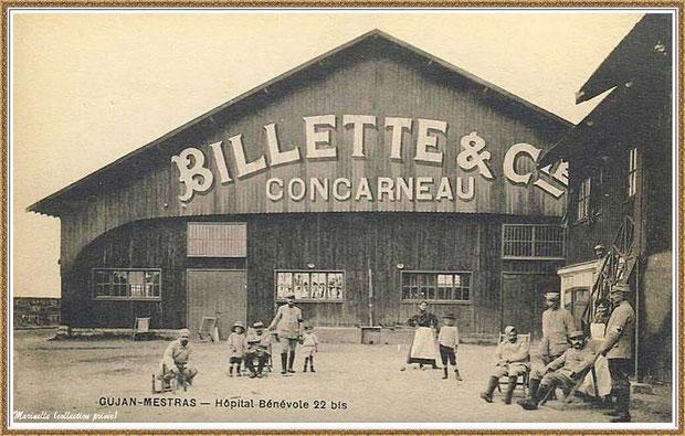 """Gujan-Mestras autrefois : Conserverie """"Billette & Cie"""" au Port du Canal (transformée en hôpital bénévole de septembre 1914 à juin 1917), Bassin d'Arcachon (carte postale, collection privée)"""