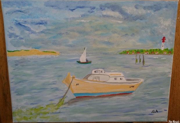 """JLA Artiste Peintre - """"Pinasse Lady et pinasse à voile au large du Cap Ferret"""" 027 - Peinture sur toile"""