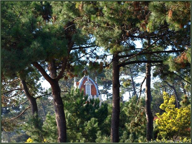 Chapelle Algérienne, clocher derrière les arbres, Village de L'Herbe, Bassin d'Arcachon (33)
