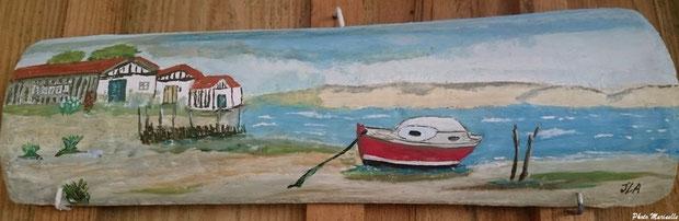 """JLA Artiste Peintre - """"Paysage Bassin Arcachon-Dune Pyla, pinasse, cabanes"""" 062- Peinture sur tuile ostréicole"""