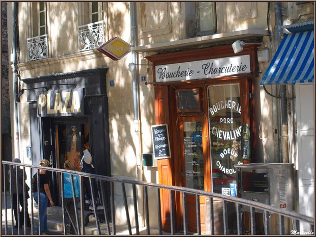 Façades commerçantes dans une ruelle centre ville à Saint Rémy de Provence, Alpilles (13)