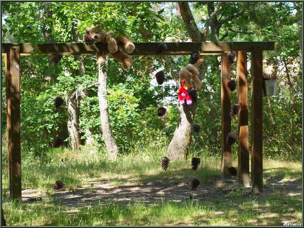 Nounours et guirlandes de pignes sur un des portiques du parcours santé à la Fête de la Nature 2013 au Parc de la Chêneraie à Gujan-Mestras (Bassin d'Arcachon)