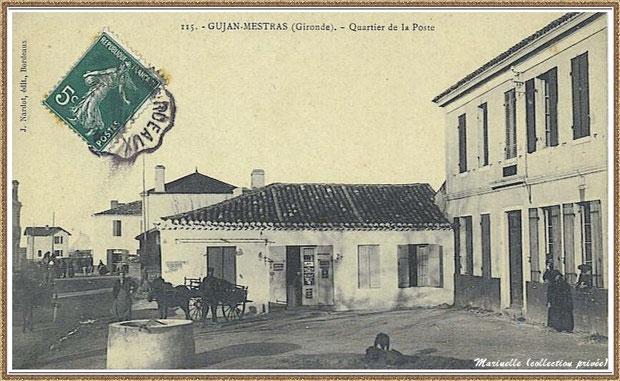 Gujan-Mestras autrefois : ancienne Rue Carrère Daney (devenue Rue Jules Barat) ici à l' angle(de nos jours) de la rue Jules Barat et de l'Impasse Gambetta, Bassin d'Arcachon (carte postale, collection privée)