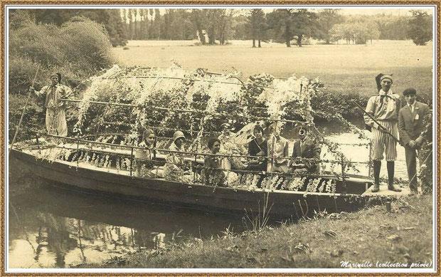 Gujan-Mestras autrefois : barque fleurie sur le ruisseau, Bassin d'Arcachon (photo, collection privée)