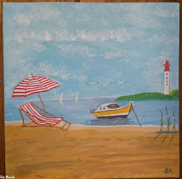 """JLA Artiste Peintre - """"Chaise longue, parasol sur plage et pinasse avec phare Cap Ferret en fond de décor"""" 043 - Peinture sur toile"""