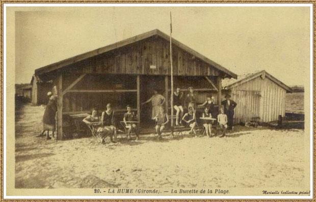 Gujan-Mestras autrefois : buvette de la plage de La Hume, Bassin d'Arcachon (carte postale, collection privée)