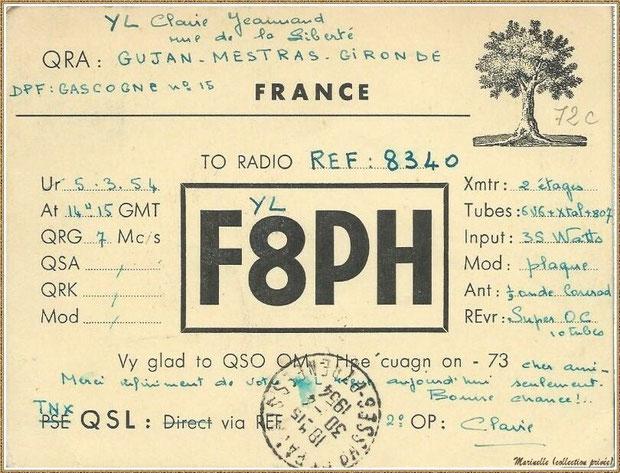 Gujan-Mestras autrefois : texte message radio 1954, Bassin d'Arcachon (collection privée)