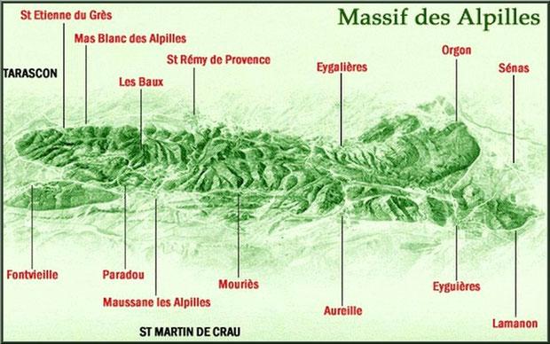 Carte du massif des Alpilles et ses villages