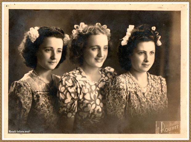 Gujan-Mestras autrefois : Portrait de jeunes filles en 1947 avec, à gauche, ma maman (Ginette Pédemounou qui deviendra, 3 ans plus tard, épouse de Almeida), Bassin d'Arcachon (photo de famille, collection privée)