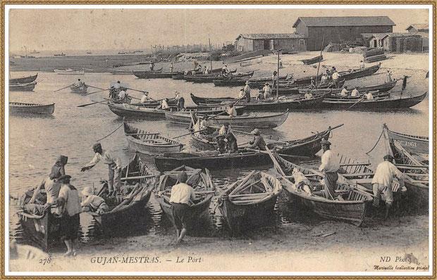 Gujan-Mestras autrefois : Darse principale du Port de Larros avec pinassottes et pinasses à voile, Bassin d'Arcachon (carte postale, collection privée)