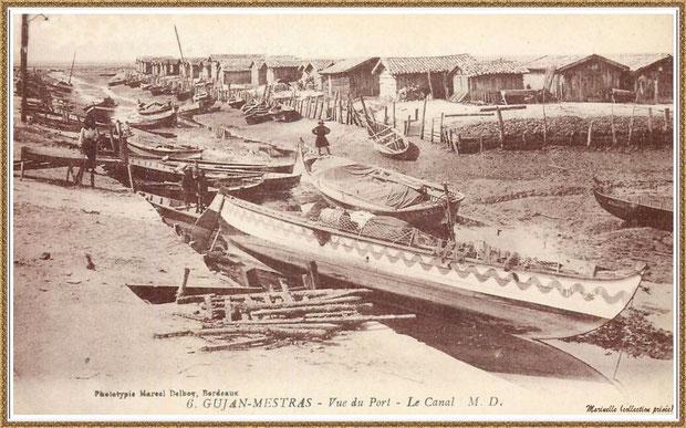 Gujan-Mestras autrefois : en 1927, le Port du Canal à marée basse, Bassin d'Arcachon (carte postale, collection privée)