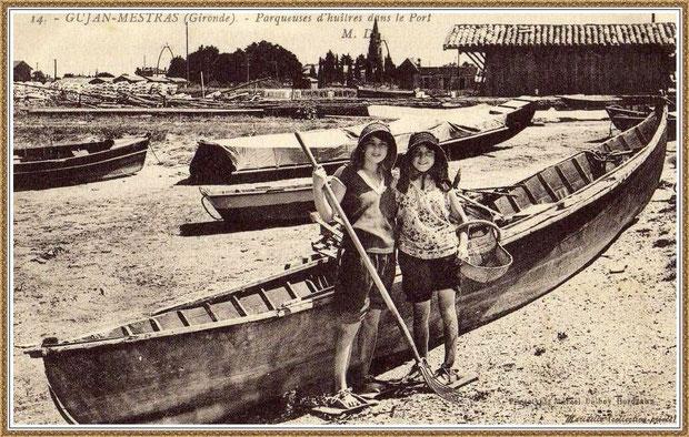 Gujan-Mestras autrefois : Jeunes parqueuses au Port de Gujan (ex Port de la Passerelle), Bassin d'Arcachon (carte postale, collection privée)