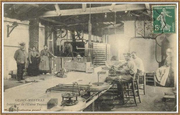 Gujan-Mestras autrefois : en 1905, intérieur de l'Usine-Conserverie Teysonneau, Bassin d'Arcachon (carte postale, collection privée)