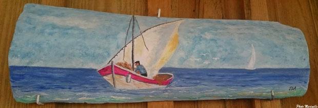 """JLA Artiste Peintre - """"Pinassotte revenant de la pêche"""" 060 - Peinture sur tuile ostréicole (Bassin d'Arcachon)"""