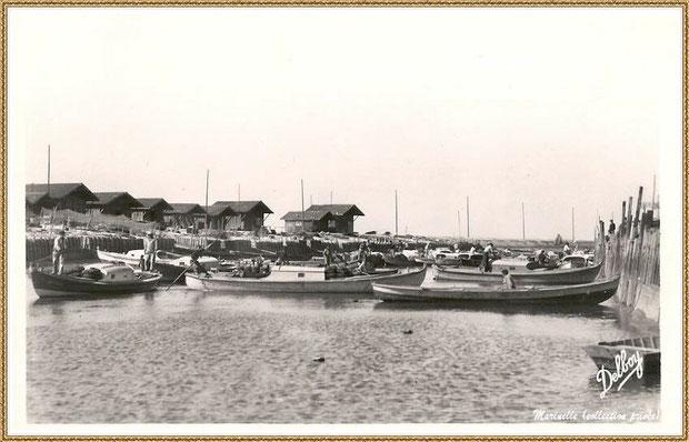 Gujan-Mestras autrefois : Manoeuvre des pinasses revenant des parcs, darse principale du Port de Larros, Bassin d'Arcachon (carte postale, collection privée)
